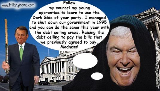 Newt Gingrich Tutors John Boehner on Government Shutdown