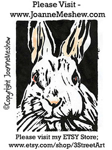 Rabbit Relief Art Print by Joanne Meshew