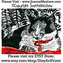 Calico Cat Relief Art Print by Joanne Meshew