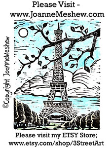 Eiffel Tower Paris Relief Art Print by Joanne Meshew