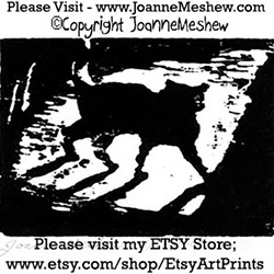 Shadow Cat Relief Art Print Joanne Meshew 250