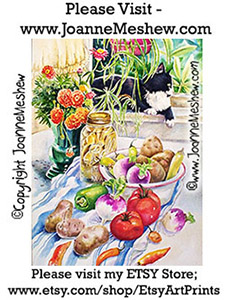 Summer Garden Food Painting by Joanne Meshew