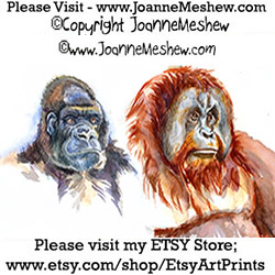 Painting Two Gorillas Art Joanne Meshew 250